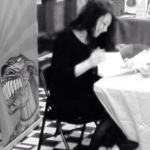 Author/poet Stephanie Wytovich signing copies of her first poetry collection, Hysteria.