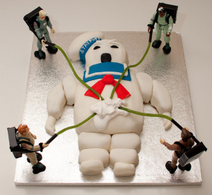 A whimsical Ghostbusters themed cake