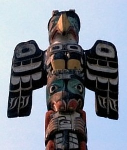 A Thunderbird as depicted on a totem pole.