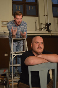 "Tyler Anthony Smith (left) and Tom Protulipac rehearse a scene for ""Red"" at The Smithfield Street Theatre."