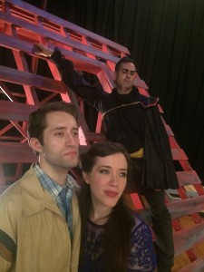 "Adam Hill as Matt (The Boy), Rachel Eve Holmes as Luisa (The Girl) and Sean Cooper as El Gallo in SummerFest's ""The Fantasticks"" Photo Credit: New Place Collaborations"