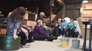 "The cast of ""Dancing at Lughnasa"" rehearses a scene in the barn at Little Lake Theatre in Canonsburg."