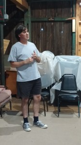 Greg Caridi rehearsing as narrator Michael.