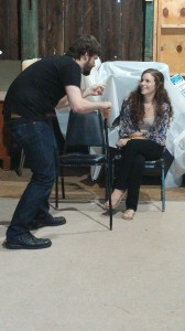 "Garrett Storm and Jenna Lanz rehearse for ""Dancing at Lughnasa."""