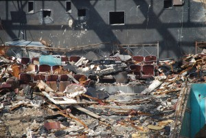 The interior of the Hollywood Theater is exposed during its demolition.