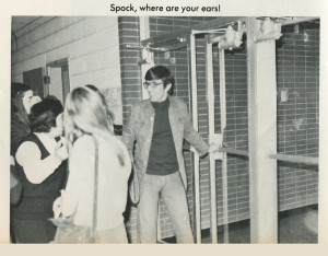 Leonard Nimoy visited California Area High School in 1975. This photo is from the 1975 edition of Montage, the CAHS yearbook, and is courtesy of Connie Blakey Hajduk . The dark haired woman in the photograph is then high school choir director Mary Grace Bernadowski.
