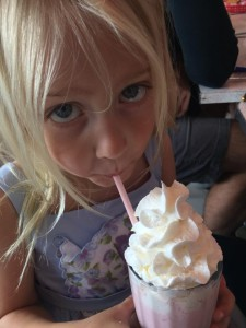 Lila Mitchell enjoys a delicious milkshake from the Route 40 Classic Diner. Photo by Mitch Mitchell.