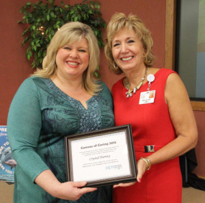 In celebration of National Nurses Week, May 6-12, MVH hosted a breakfast to honor its nurses. During the event, Mary Lou Murt (right), senior vice president of Nursing, presented the 2015 Cameos of Caring® Award to Crystal Harvey, a registered nurse on the Behavioral Health Unit.