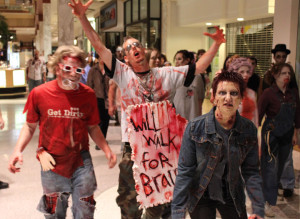 Hungry zombies search for brains during Zombiefest at the Monroeville Mall