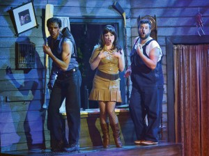 Evil Dead - The Musical.  Left to Right: David Sajewich, Callie Johnson, Andrew di Rosa. Courtesy of Peter Coombs.