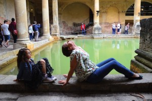 Mermaid fun in Bath at the Roman ruins. Pictured: Della & Brianne Mitchell