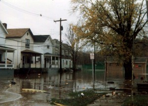 As seen here, Second Street (and surrounding streets) were devastated during the flood. Photo courtesy of Rosemary Capanna.