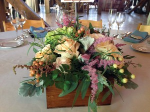 Every event is more festive with flowers! A lovely centerpiece created by Pretty Petals graces a banquet table.