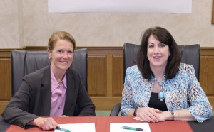 Dana Cook Baer, interim provost, Waynesburg University (left) and Dr. Tuesday Stanley, president, Westmoreland County Community College signed an agreement that allows a seamless transfer for the community college's nursing graduates into the university's bachelor's degree nursing program.