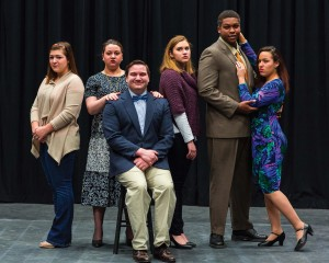 "Photos of the cast of ""Yet Another Funeral"" courtesy of photographer Kelly Tunney. In photo: (l-r) Sidney Popielarcheck, Kitty Hoffman, Nick Franczak, Kayla Grimm, Saleem Carpenter & Amelia Wisinski"