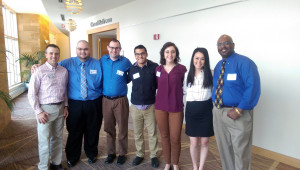 Enjoying a moment at the annual Society of Professional Journalists Region 4 conference are (from left) Jeff Helsel, multimedia journalism director, S.A.I.; students Daniel Brock, Zachary Filtz, Lauren Griffith, Jose Negron, Lauren Griffith and Mari Boyle; and Dr. Anthony Carlisle, SPJ chapter adviser and a faculty member in the English Department.