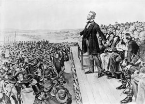 Illustration of Lincoln's Address at the dedication of the Gettysburg National Cemetery, Nov. 19, 1863. Copyright 1905, Sherwood, Lithograph Co. Chicago --- Image by © Bettmann/CORBIS
