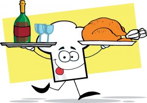 2094_chefs_hat_character_running_with_tray_of_wine_and_plate_with_chicken