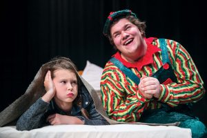 Claire, left, plays Molly and Jeshua Myers portrays Eubie the happy elf in the Cal U Theatre Department's holiday musical. The Happy Elf runs December 8, 9 and 10 at 7pm, and December 10 and 11 at 2pm.